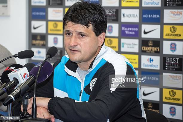 Adrian Falub the coach of U ClujNapoca at the pressconference after the Liga I Romania Soccer game between FC Petrolul Ploiesti ROU and FC...