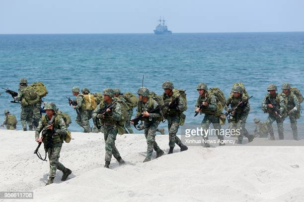 ZAMBALES May 9 2018 Filipino soldiers participate in the Amphibious Landing training as part of the 2018 Balikatan Exercises between the Philippines...