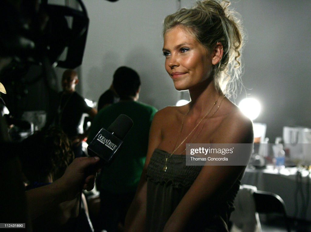 May Andersen backstage at Sais by Rosa Cha during Sunglass Hut Swim Shows Miami Presented by LYCRA - Sais by Rosa Cha - Backstage and Front Row at Raleigh Hotel in Miami Beach, Flordia, United States.