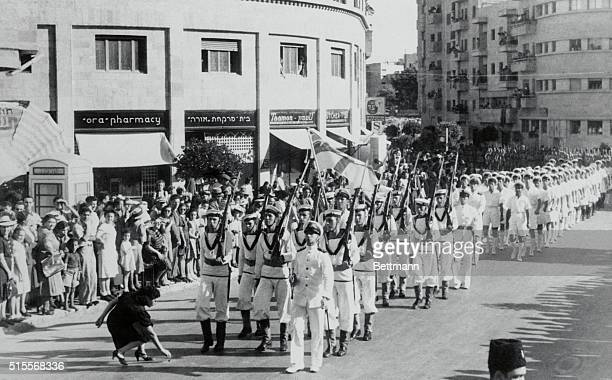 May be next scene of Axis attack...With Axis parachute forces massing in Crete and with air raids by German planes on Haifa, Palestine may be the...