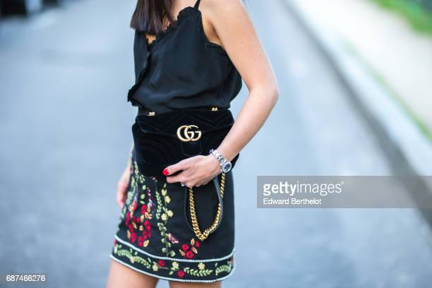May Berthelot fashion blogger and Head of Legal at Videdressingcom wears a Topshop black skirt with embroidered flowers a Claudie Pierlot black...