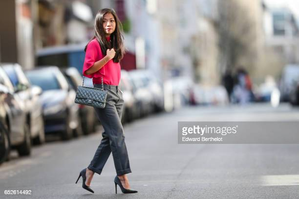 May Berthelot Head of Legal at Videdressingcom and fashion blogger wears a Zara pink choker a Zara low neck pink top Newlook gray heels Zara gray...
