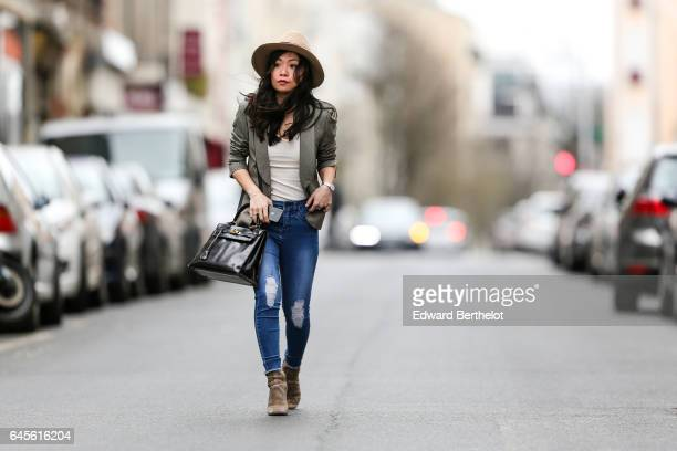 May Berthelot Head of Legal at Videdressingcom and fashion blogger wears jacket designed by herself a New Look white tshirt New Look blue denim...
