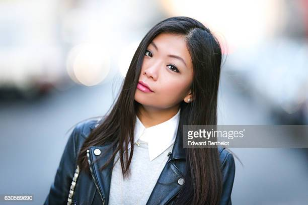 May Berthelot Head of Legal at Videdressingcom and influencer is wearing a The Kooples perfecto black leather jacket a Marks Spencer cashmere gray...