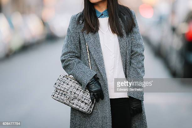 May Berthelot is wearing a The Kooples white sweater a Zara blue denim shirt Topshop black velvet pants New Look black patent leather boots a Marks...