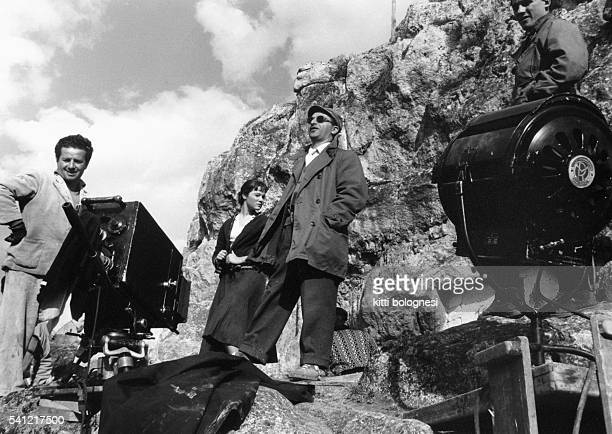 May Britt and Alberto Lattuada on the set of the film La Lupa | Location Matera Italy