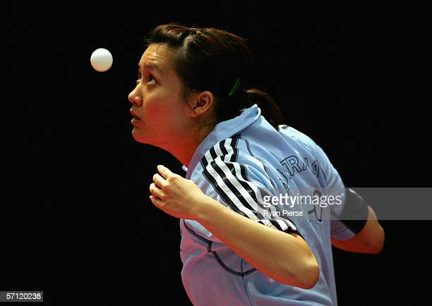 May Cho of Australia is seen in action during her Women's Team match against Deepika Rodrigo of Sri Lanka at the Melbourne Sports Aquatic Centre...