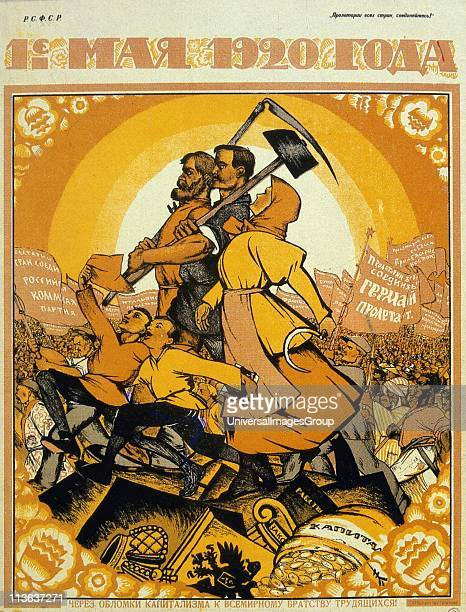May Day 1920. On the ruins of capitalism the fraternity of peasants and workers marches against the peoples of the world. Artist, Nicolas...