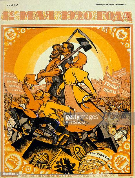 'May Day 1920' On the ruins of capitalism the fraternity of peasants and workers marches against the peoples of the world