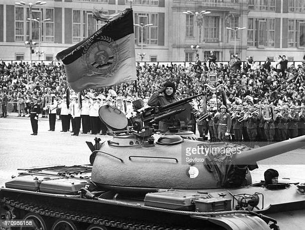 May day 1967 a regiment with t54 tanks on marxengels square in front of the gdr state council building during a military parade of the national...