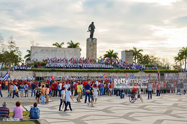 May day celebration in Cuba People gathering in front of the Che Guevara Statue at dusk