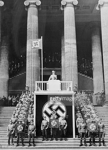 May Day in Berlin Berlin Chancellor Adolf Hitler is shown as he spoke to a German crowd of May Day celebrants in the Berlin Lustgarten