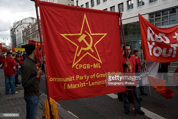 May Day march and rally at Trafalgar Square Communist Party of Great Britain Marxist Leninist banner