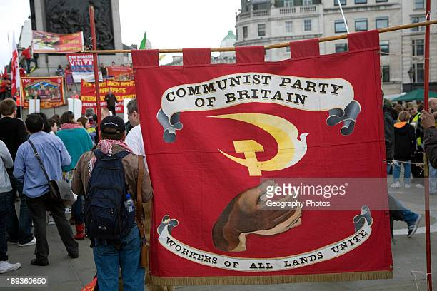 May Day march and rally at Trafalgar Square May 1st 2010 Communist Party of Great Britain banner