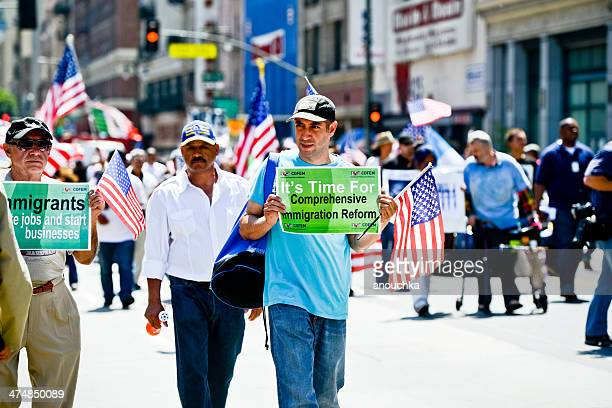 may day march in los angeles downtown, usa - mexican poster stock photos and pictures