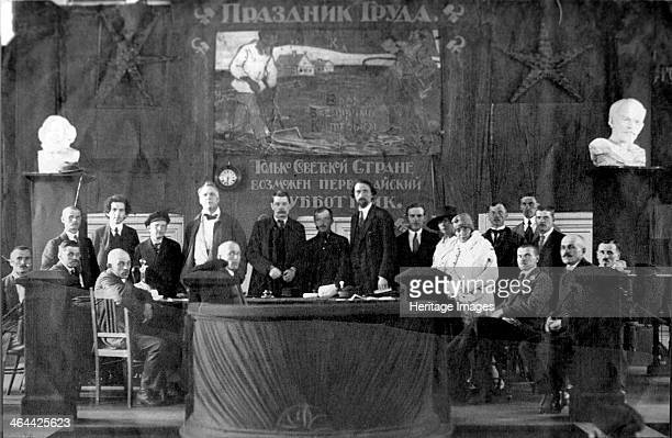 May Day meeting Russia 1920 Among those present are Bolshevik leader Grigory Zinoviev writer Maxim Gorky and opera singer Feodor Chaliapin Found in...
