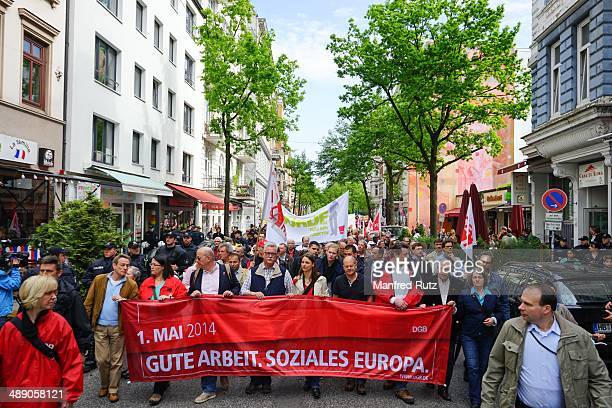 May Day Protest in Hamburg Germany mayor of Hamburg Olaf Scholz in front
