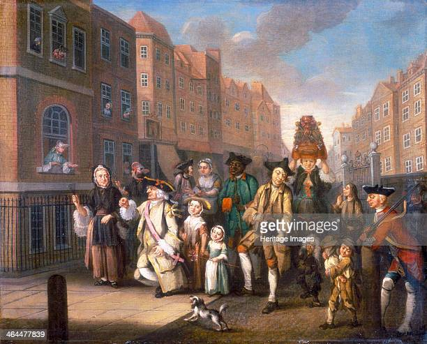 'May Morning' c1760 A satirical depiction of the May Day procession with the 'Lord and Lady of May' on the left The 'lady' is possibly a man and the...