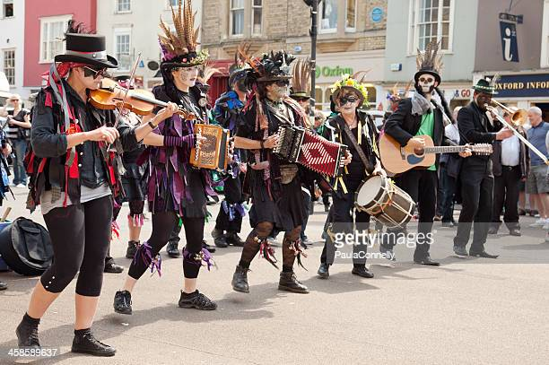 may morning musicians - morris dancing stock photos and pictures