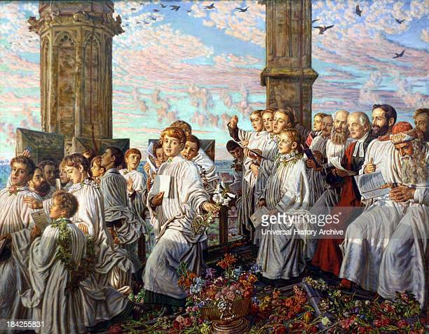 May Morning on Magdalen Tower by William Holman Hunt Oil on canvas circa 18881893 Showing the priests altar boys and choir greeting the rising sun on...