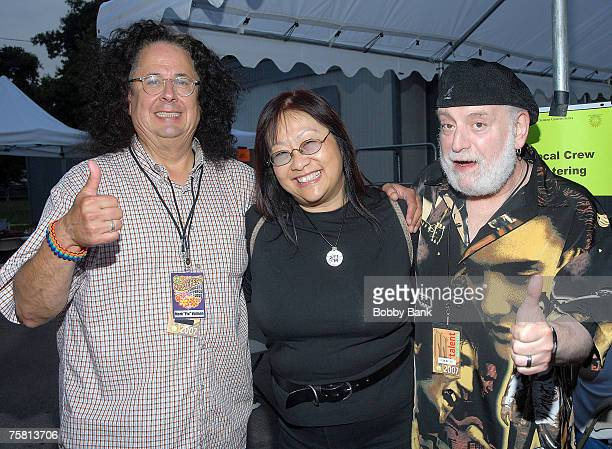 May Pang with Mark Volman and Howard Kaylan of The Turtles backstage at Hippiefest 2007 at Assey Levy Park Brooklyn New York July 26 2007
