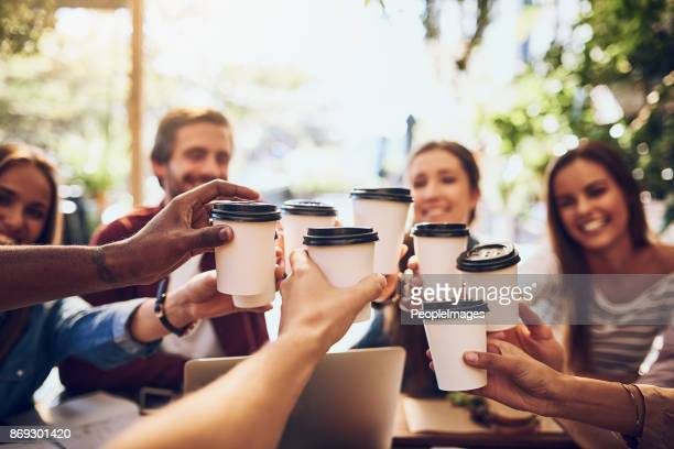 may the coffee be as strong as the friendship - paper cup stock photos and pictures