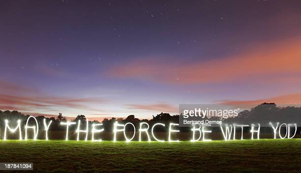 'May the force be with you' written in light