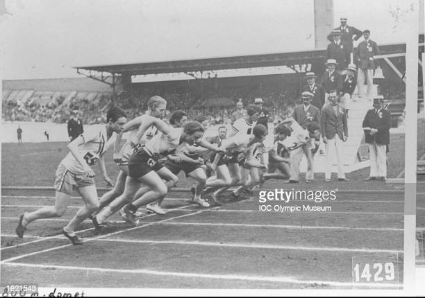Competitors starting the Women's 800 Metres event during the 1928 Olympic Games in Amsterdam Netherlands Mandatory Credit IOC Olympic Museum /Allsport