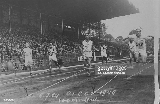 The competitors approach the finishing line in one of the 100meter heats at the 1924 Olympic Games in Paris Harold Abrahams of Great Britain would...