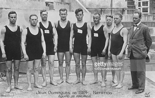 Group photo of the Finnish Swimming Team and their Coach during the 1924 Olympic Games in Paris Mandatory Credit IOC Olympic Museum /Allsport