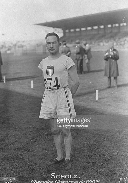 Jackson Scholz of the USA rests between events during the 1924 Olympic Games in Paris Scholz won the gold medal in the 200 metres event and the...