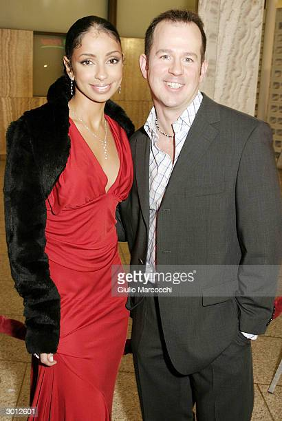 """Maya and Guy Ferland attends the Los Angeles premiere of """"Dirty Dancing: Havana Nights,"""" February 23, 2004 in Hollywood, California."""
