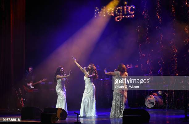 Maya Angela Asmeret Ghebremichael and Brennyn Lark from 'Dreamgirls' perform during Magic Soul at London Palladium on February 10 2018 in London...