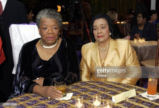 "Maya Angelou and Coretta Scott King during ""Maya Angelou Life Mosaic"" Collection by Hallmark at Metropolitan Pavilion in New York City, New York,..."