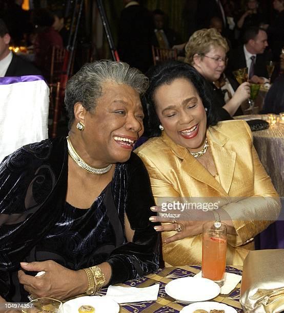 Maya Angelou and Coretta Scott King during 'Maya Angelou Life Mosaic' Collection by Hallmark at Metropolitan Pavilion in New York City New York...