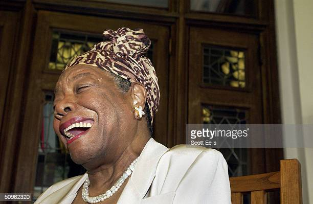 Maya Angelou laughs at the Abyssian Development Corporation's tenth annual Harlem Renaissance Day of Commitment, June 15, 2004 in New York City....
