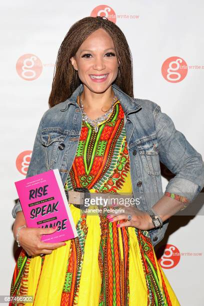 Maya Angelou Presidential Chair Wake Forrest University Melissa HarrisPerry holding Rise Speak Change Girls Right Now 2017 Anthology at the Fifth...