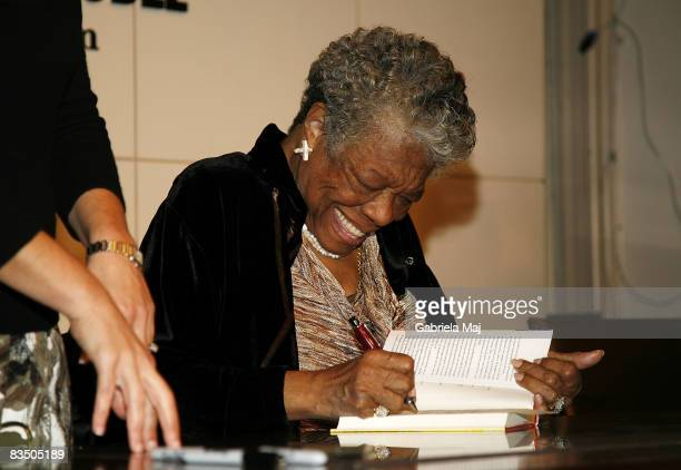 """Maya Angelou signs copies of """"Maya Angelou: Letter to My Daughter"""" at Barnes & Noble in Union Square on October 30, 2008 in New York City."""