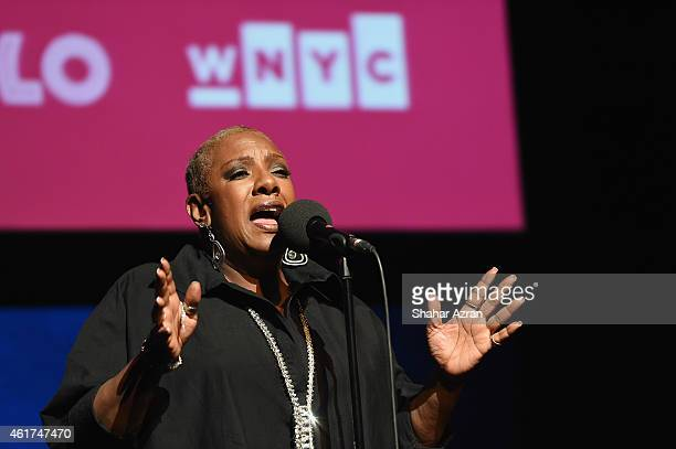 Maya Angelou tribute by artist Alyson Williams at The Apollo Theater on January 18 2015 in New York City