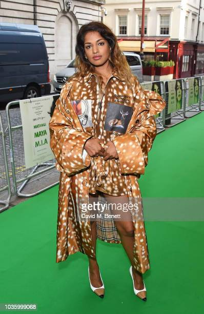 Maya Arulpragasam attends the London Premiere of MATANGI / MAYA / MIA at The Curzon Mayfair on September 19 2018 in London England