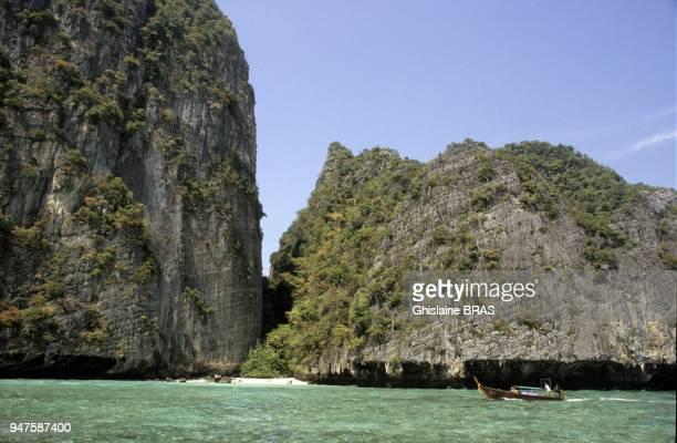 Maya Bay part of Phi Phi archipelago Andaman sea ThailandMaya Bay is popular for diving and has become even more popular after the 2000 movie The...