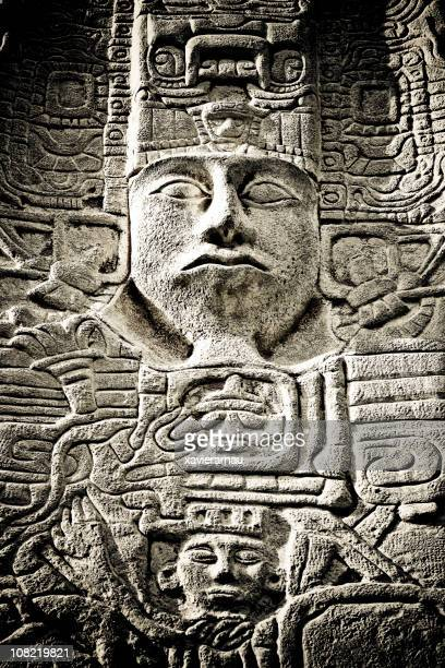 maya carving - tulum mexico stock photos and pictures
