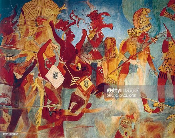 Maya civilization Mexico 9th century AD Reconstruction of Bonampak frescos Room 2 War scenes