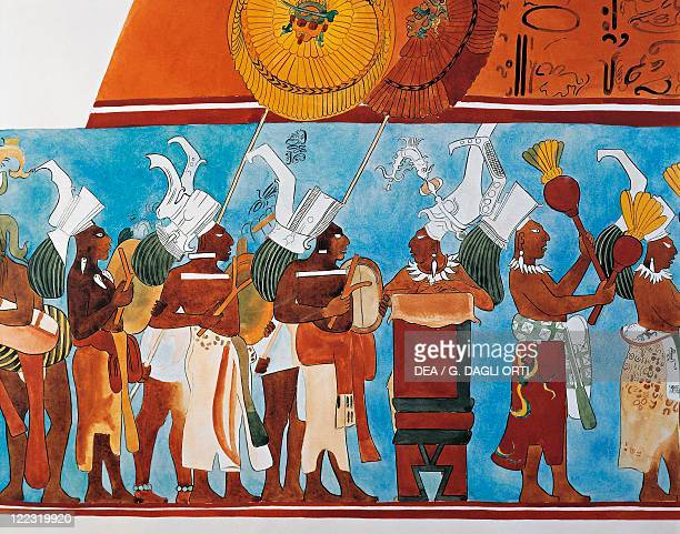 Maya civilization Mexico 9th century AD Reconstruction of Bonampak frescoes Room 1 procession of musicians Detail