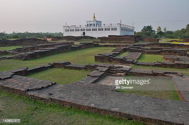 maya devi temple and ancient templefoundations - lumbini nepal stock pictures, royalty-free photos & images