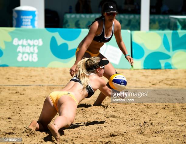 Maya Dickson of New Zealand dives for the ball in the Women's Round of 24 during day 7 of Buenos Aires Youth Olympic Games 2018 at Green Park on...