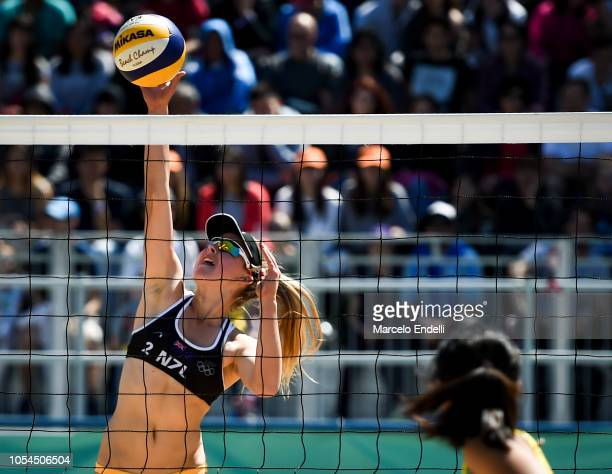 Maya Dickson of New Zealand jumps for the ball in the Women's Round of 24 during day 7 of Buenos Aires Youth Olympic Games 2018 at Green Park on...