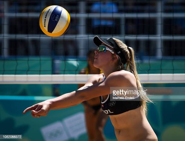 Maya Dickson of New Zealand spike the ball during day 7 of Buenos Aires Youth Olympic Games 2018 at Green Park on October 13 2018 in Buenos Aires...