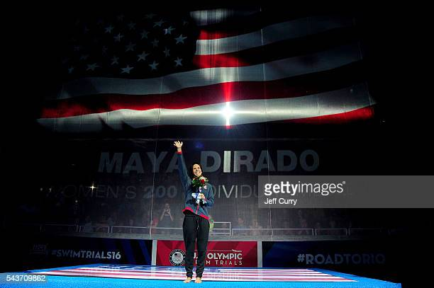 Maya DiRado of the United States participates in the medal ceremony for the Women's 200 Individual Medley during Day Four of the 2016 US Olympic Team...