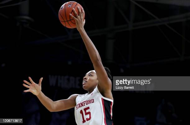 Maya Dodson of the Stanford Cardinal makes a lay up during the first quarter of a game between the Stanford Cardinal and the Colorado Buffaloes at...